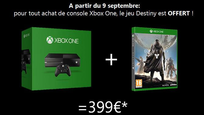 Destiny offert poura tout achat d'une Xbox One en France