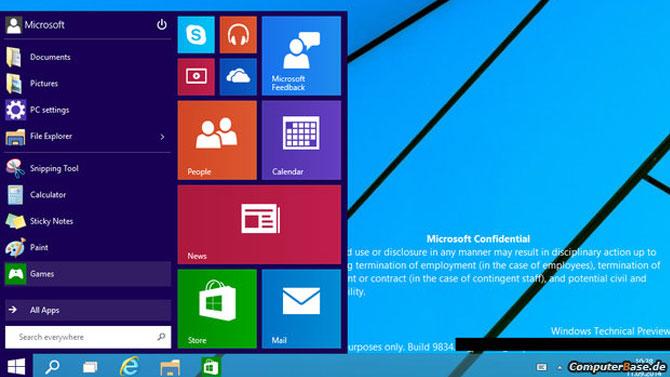 Windows 9 : nouvelle capture d'écran avec le menu Démarrer