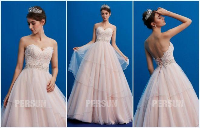 robe de mariée rose romantique bustier coeur appliqué de dentelle 2019