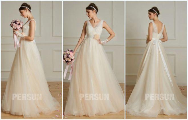 robe de mariée champagne clair style bohème cache coeur
