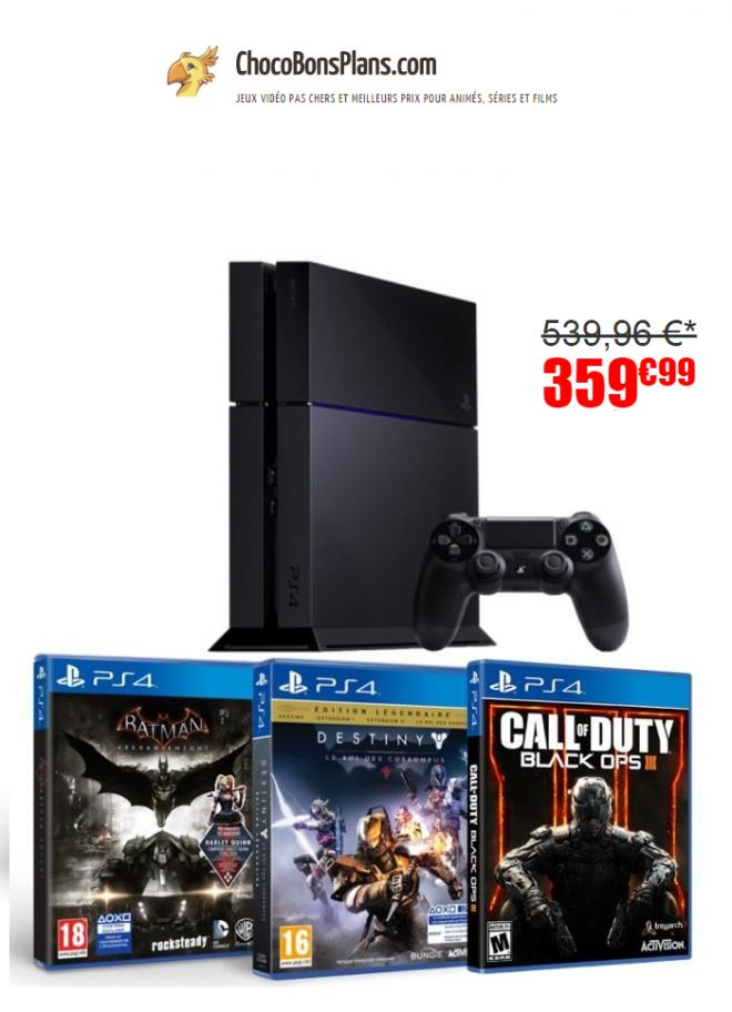 console ps4 pas ch re un pack avec 3 jeux pour 359 euros. Black Bedroom Furniture Sets. Home Design Ideas