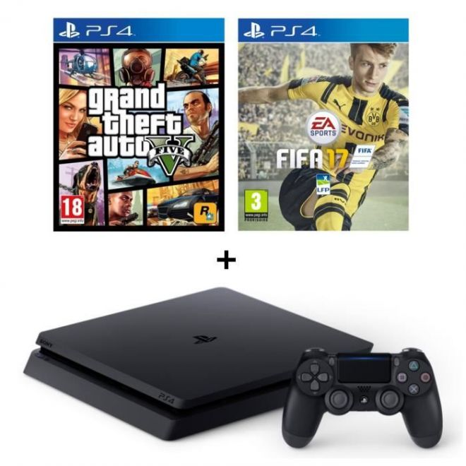 ps4 slim fifa 17 une offre avec gta 5 359 99 le blog de choco jeux vid o films. Black Bedroom Furniture Sets. Home Design Ideas