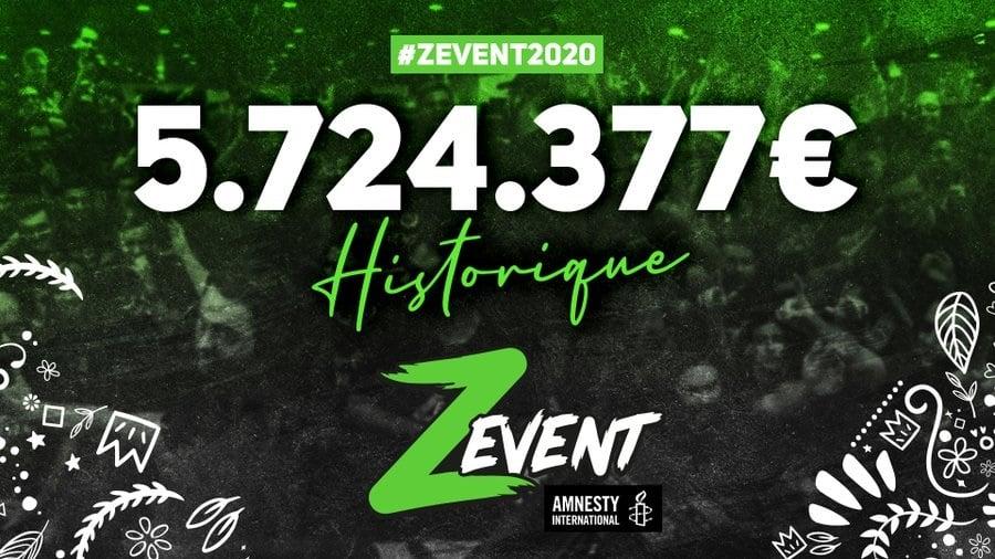 Le ZEvent 2020 bat son record en collectant 5,7 millions d'euros pour Amnesty International