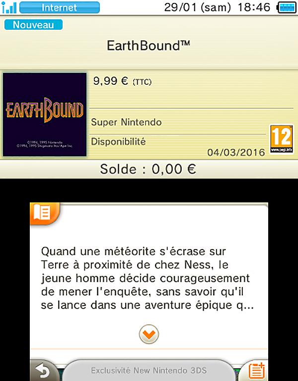 3DS eShop SNES Earthbound