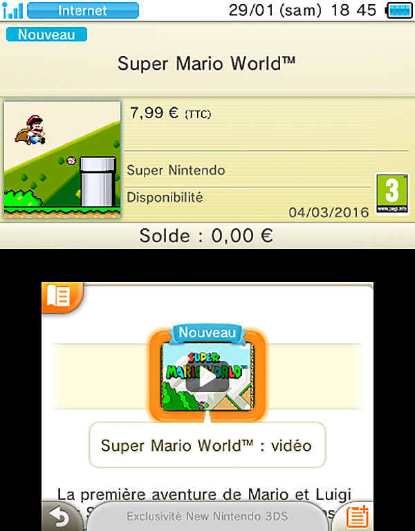 3DS eShop SNES SuperMarioWorld