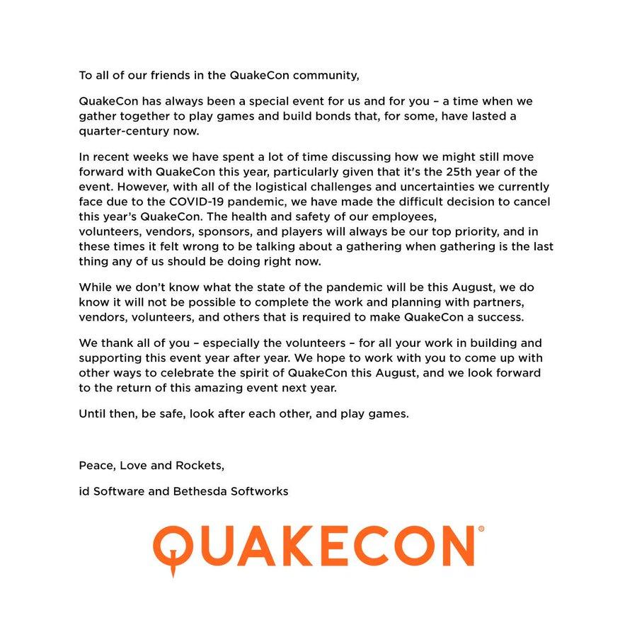 QuakeCon 2020 annulation