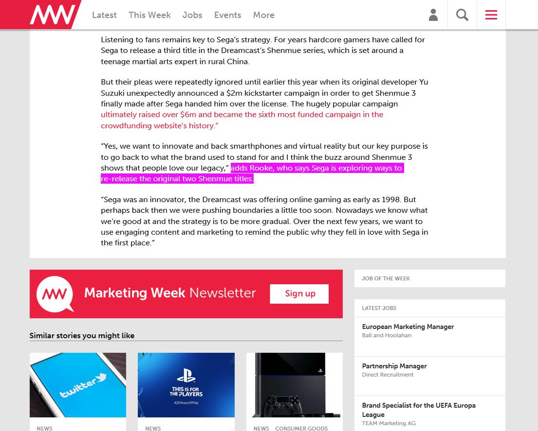 Shenmue marketingweek