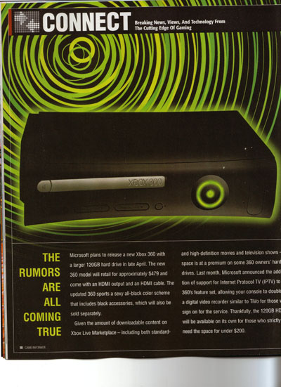 Xbox360 Black GameInformer Divers