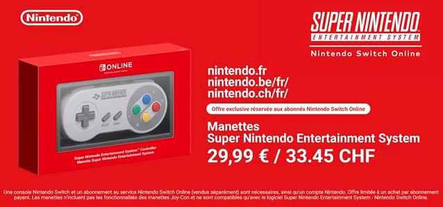 manette snes switch online commande