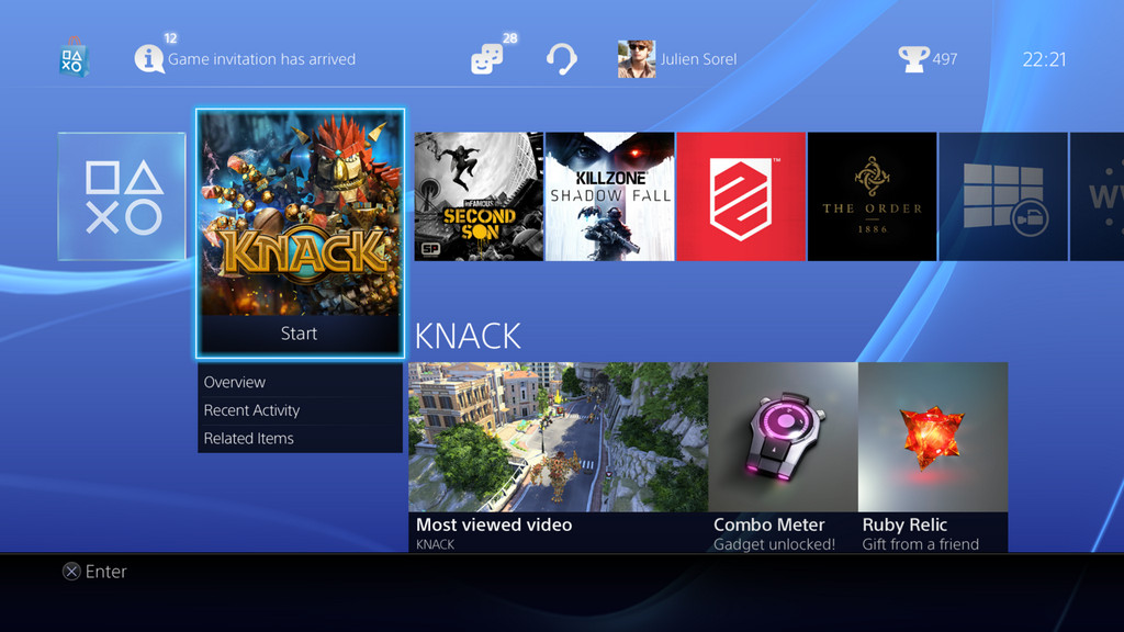 ps4 home screen