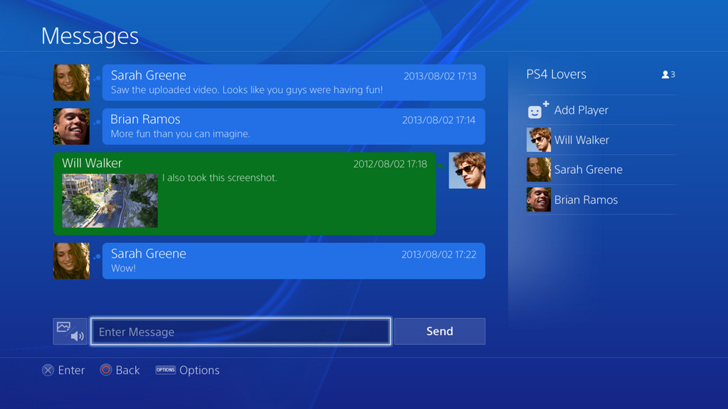 ps4 messages