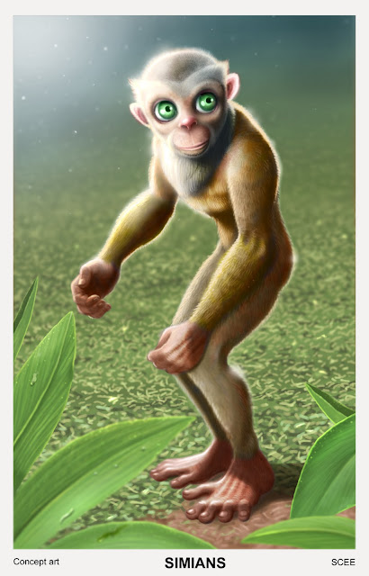 simian standing