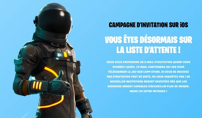 Fortnite iOS ListeAttente