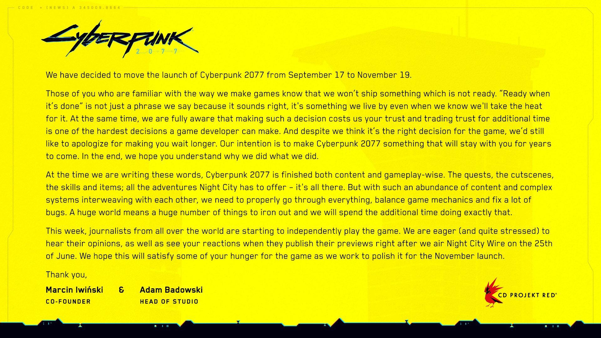 Cyberpunk 2077 report 2 mois