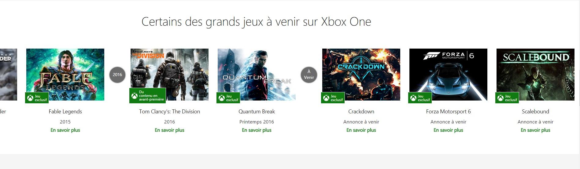 Sorties Xbox One