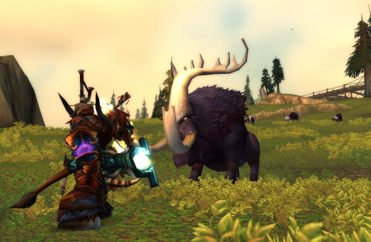 Tauren shaman prepares to fight a shovel tusk in Howling Fjord