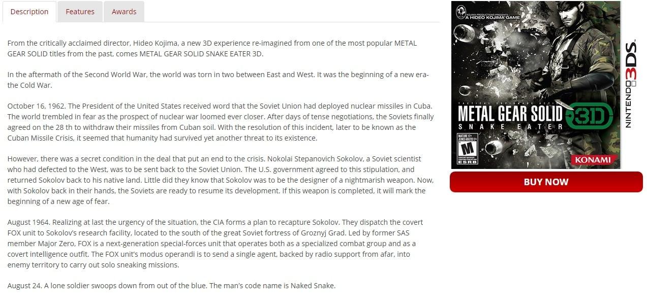 MGS Snake Eater 3D Kojima