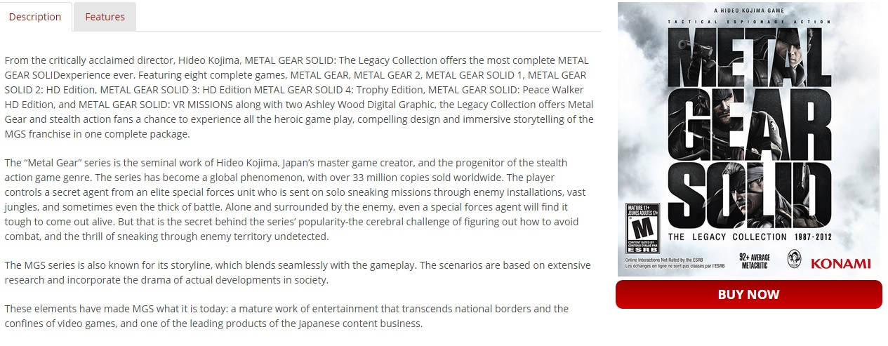 mgs Legacy Collection Kojima