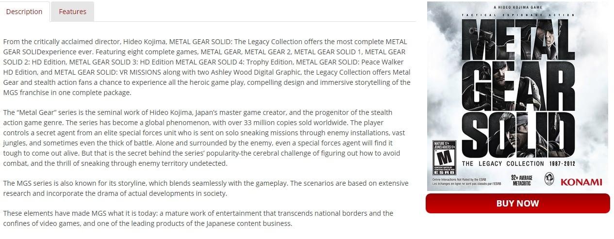 mgs Legacy Collection Kojima