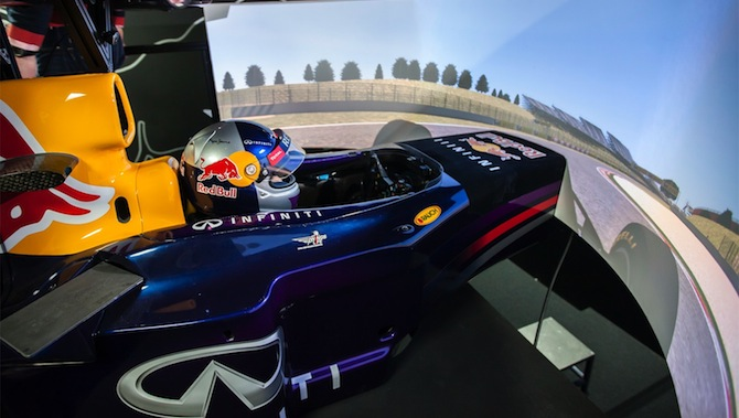 Jann Mardenborough tries out the Infiniti Red Bull Racing driver development simulator