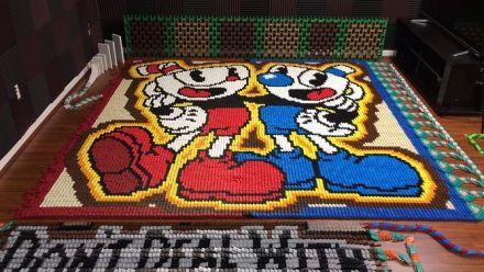 Vidéo : Un hommage à Cuphead tout en dominos !