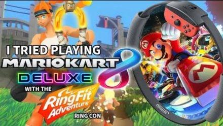 Mario Kart 8 Deluxe : Il joue avec le Ring-Con de Ring Fit Adventure