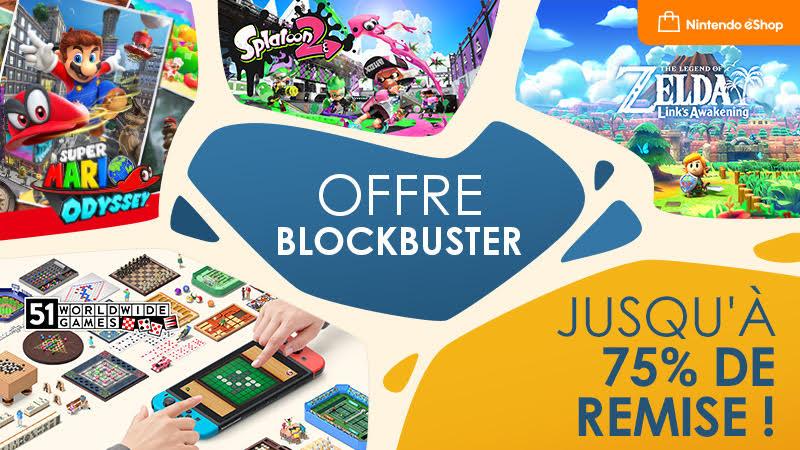 """Nintendo Switch : Des soldes """"Blockbuster"""" annoncées avec des réductions jusqu'à -75%"""