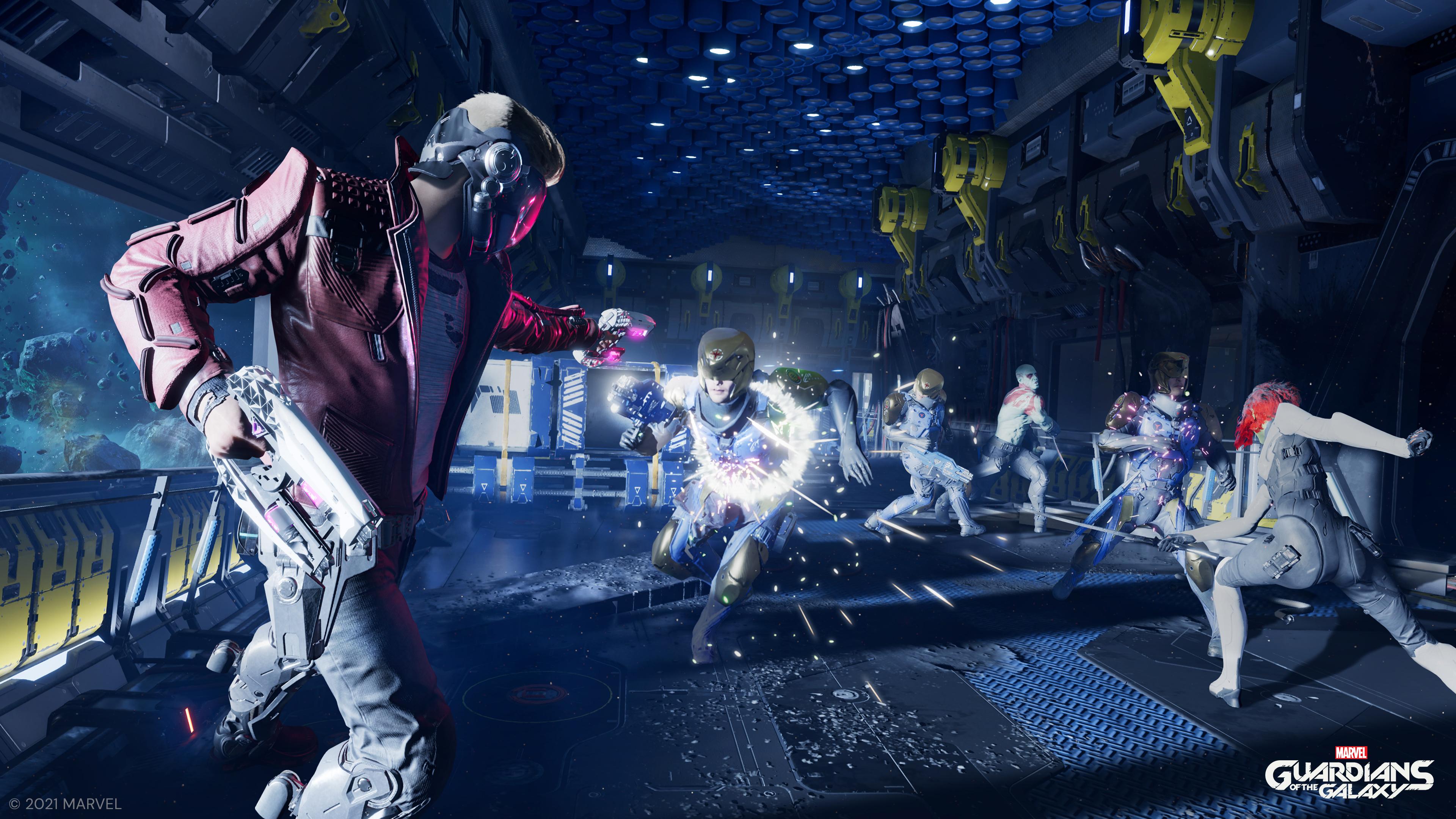 Séquence de combat dans Marvel's Guardians of the Galaxy.